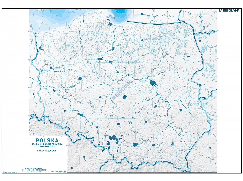 Mapa Konturowa Hipsometryczna Polski Cwiczeniowa Mapa Scienna