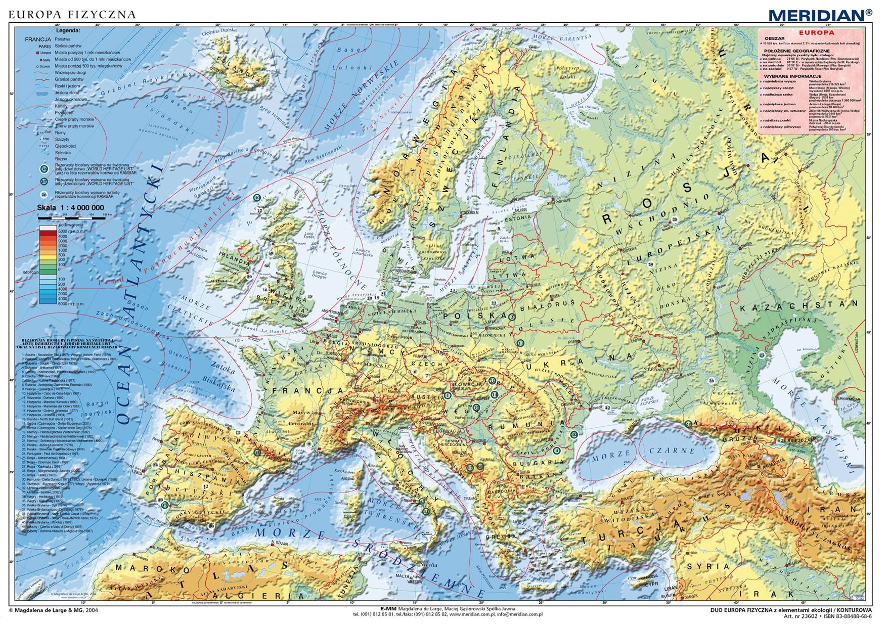Duo Europa Fizyczna Z Elem Ekologii Mapa Hipsometryczna