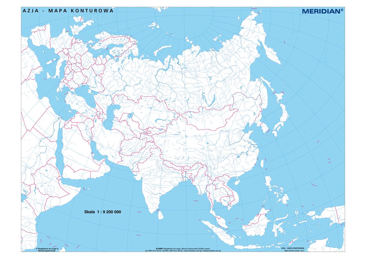 Azja Mapa Konturowa